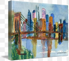 New York City - New York City Watercolor Painting Art Skyline PNG