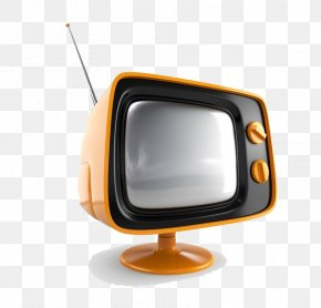 Orange Old TV Antenna - High-definition Television Retro Television Network PNG
