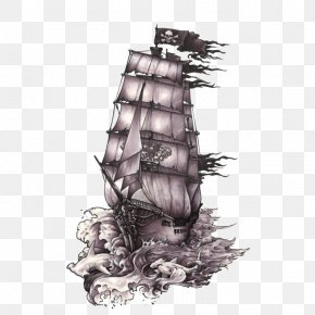 Ship - Drawing Ship Piracy Art Tattoo PNG