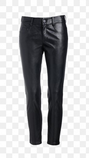Black Leather Pants - Jeans Denim Waist PNG