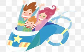 Hand Drawn Cartoon People Sitting In A Roller Coaster - Cartoon Illustration PNG