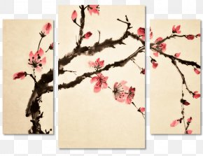 Japan - Japanese Art Cherry Blossom Painting PNG