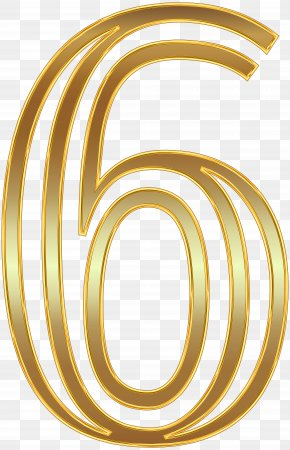 Number Six Gold Clip Art Image - Number Clip Art PNG