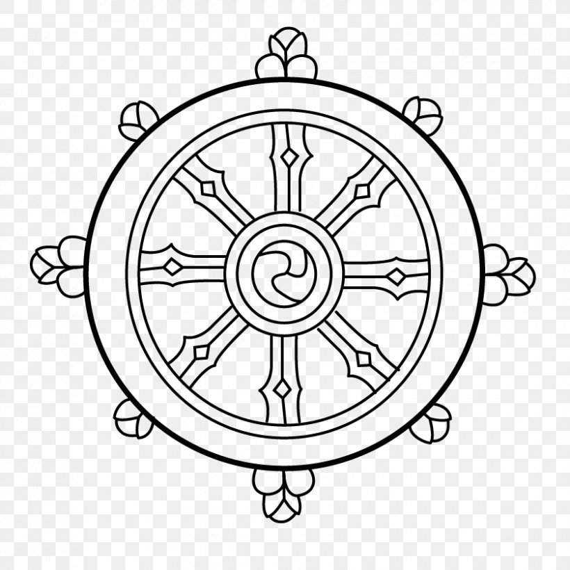 Dharmachakra Buddhism Noble Eightfold Path Three Turnings Of The Wheel Of Dharma, PNG, 840x840px, Dharmachakra, Area, Black And White, Buddhahood, Buddhism Download Free