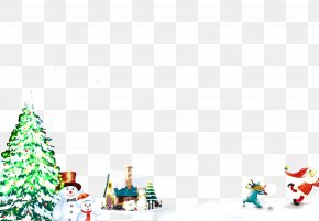 Christmas Tree On Snow - Christmas Tree Rudolph Santa Claus Christmas Ornament PNG