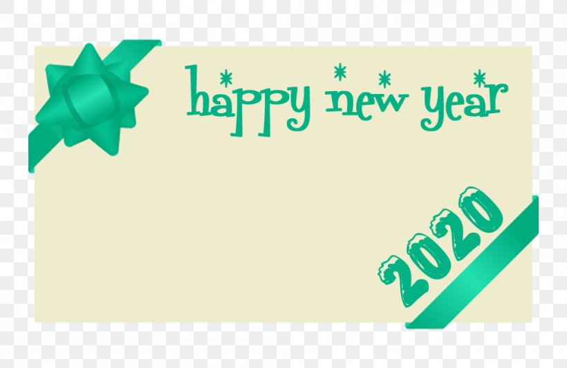 Happy New Year 2020, PNG, 1000x650px, 2020, Happy New Year, Green, Logo, Text Download Free