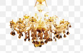 Gold Chandelier - Lighting Chandelier PNG