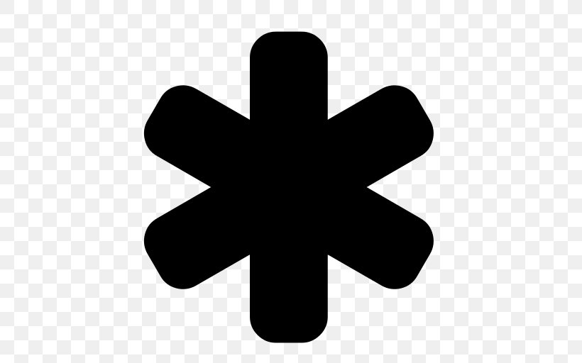 Asterisk Multiplication Sign Arrow, PNG, 512x512px, Asterisk, At Sign, Black And White, Check Mark, Font Awesome Download Free