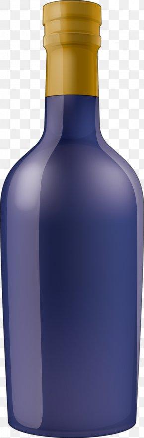 Blue Glass Bottle - Wine Liqueur Glass Bottle Cobalt Blue PNG