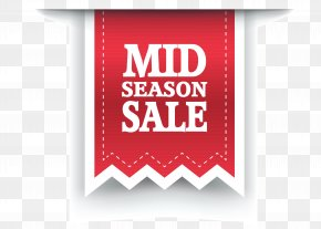 Red Mid Season Sale Label Clipart Image - Sales Label Sticker Clip Art PNG