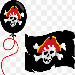 Vector Black Pirate Flag Balloon - Paper Piracy Label Brigadeiro Party PNG