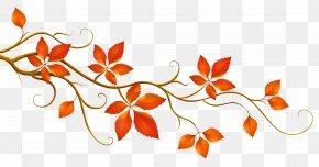 Decorative Branch With Autumn Leaves Clipart - Autumn Leaf Color Branch Clip Art PNG