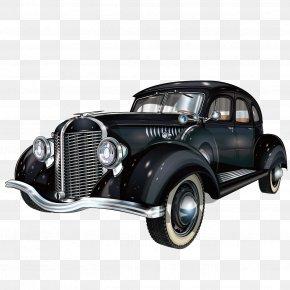 Black Retro Car Vector - Vintage Car Classic Car Pickup Truck Antique Car PNG
