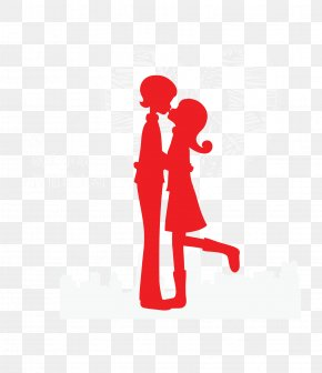 Vector Red Kissing Couple Silhouette - Kiss Couple PNG