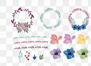 Floral Flowers Round Flower Frame - Wreath Flower Watercolor Painting Wedding Invitation PNG