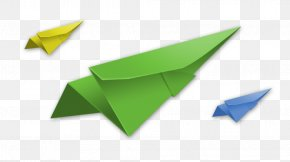 Yellow-blue Paper Airplane - Paper Green Origami Chartreuse Blue PNG
