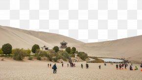 Crescent Lake In Dunhuang, Gansu Three - Crescent Lake Yueya Spring U9cf4u6c99u5c71 Wallpaper PNG