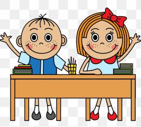 2 Children Holding Up Their Hands In Front Of The Seat - School Cartoon Royalty-free Illustration PNG