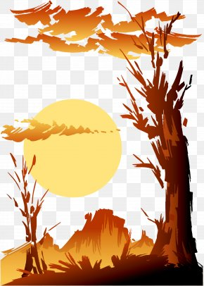 Sunset Tree - Sunset Clip Art PNG