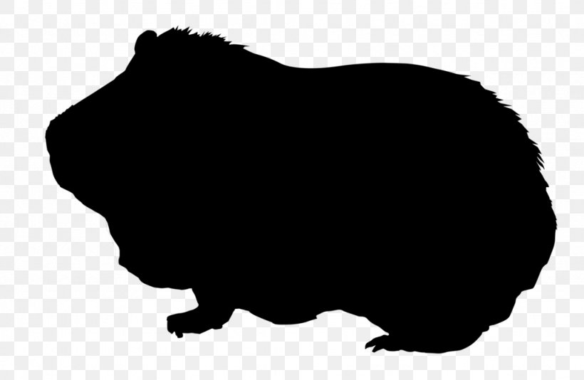 Guinea Pig Silhouette Drawing Clip Art, PNG, 1024x668px, Guinea Pig, Animal, Black, Black And White, Drawing Download Free