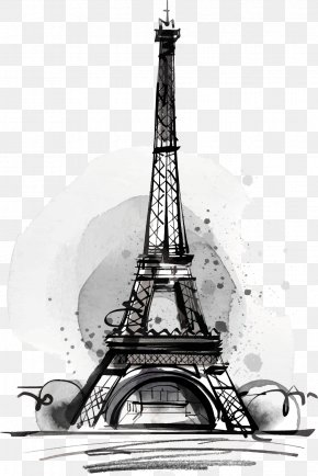 Black Drawing Eiffel Tower - Eiffel Tower Drawing Illustration PNG