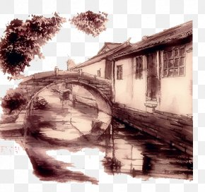 Bridge Edge Of The Village - Ink Wash Painting Drawing Bridge Illustration PNG