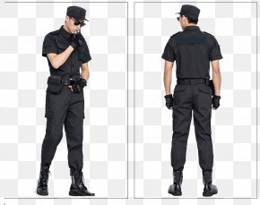 Wear A Security Suit To Show The Back And Side Of The Model - T-shirt Clothing Security Uniform Model PNG