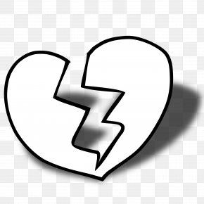 Heart Black And White Clipart - Broken Heart Black And White Clip Art PNG