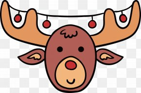 Cartoon Reindeer Head - Reindeer Cartoon Christmas Antler PNG