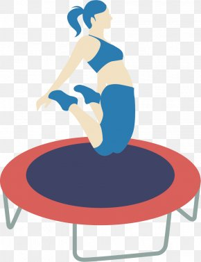 Cartoon Style Woman Jumping On The Trampoline - Euclidean Vector Jumping Clip Art PNG