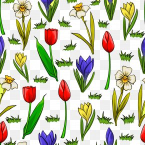 Cartoon Painted Flowers Grass Background Material Picture - Cartoon Flower Stock Illustration PNG