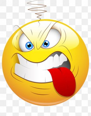 Angry And Bite The Tongue - Smiley Face Aggression Clip Art PNG