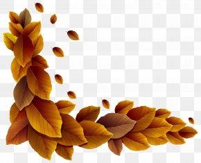 Fall Leaves Corner Decor Clipart Image - Interior Design Color Clip Art PNG