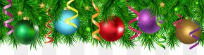 Christmas Pine Decorating Border Clip Art Image - Christmas Ornament Santa Claus Christmas Card Clip Art PNG