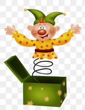 Cartoon Clown Spring Green Gift Box Inside - Clown Circus Clip Art PNG