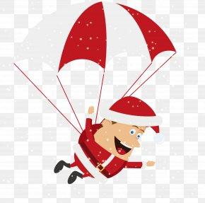 Cartoon Santa Parachute Ride - Santa Claus Christmas Tree Christmas Decoration PNG
