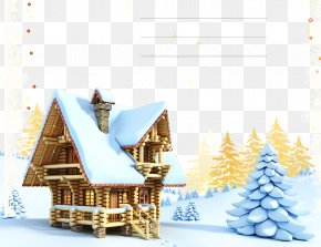 Snow House - Santa Claus Gingerbread House Christmas New Years Day PNG