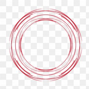 Vector Red Circle Hand-painted Hollow Circle PNG