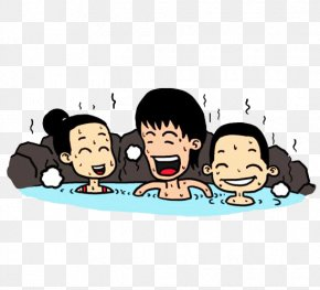 A Family Of Japanese Hot Spring Picture Material - Hot Spring Cartoon Illustration PNG
