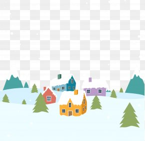 Colored Houses On Snow - Snow Euclidean Vector Winter PNG