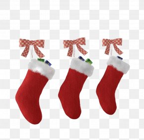 Red Christmas Socks - Christmas Stocking Santa Claus Sock PNG