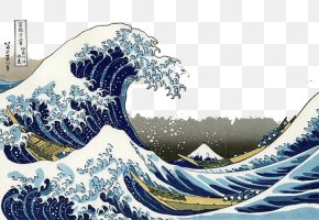 Japanese Wind Waves - The Great Wave Off Kanagawa Thirty-six Views Of Mount Fuji Painting Art Wallpaper PNG