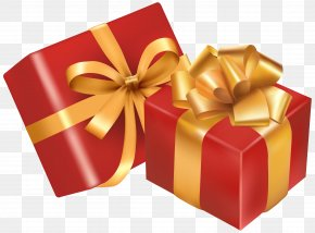 Two Red Gift Boxes Clipart Image - Christmas Gift Christmas Day PNG