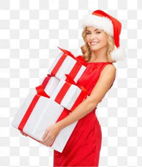 Woman - Santa Claus Gift Christmas Woman With A Hat PNG