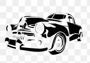Black And White Hand-drawn Cartoon Illustration Of Old Cars - Vintage Car Stencil Illustration PNG