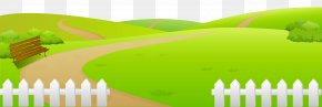 Grass Ground With Fence Clip Art - Clip Art PNG