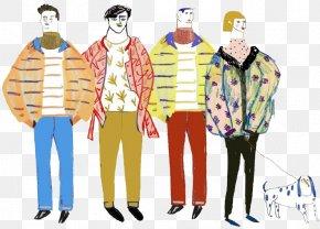 Cartoon Man Crowd - Fashion Illustration Cartoon Model Sheet Illustration PNG
