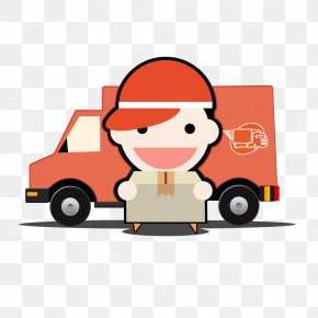 Cartoon Car Shipping - Download Courier Cartoon Logistics PNG