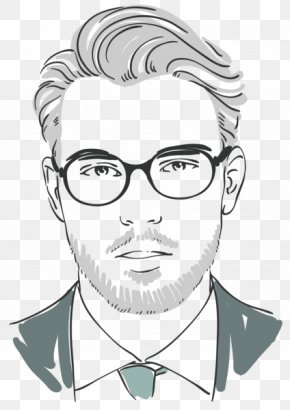 Hand-painted Men - Moustache Glasses Black And White Hairstyle Barber PNG