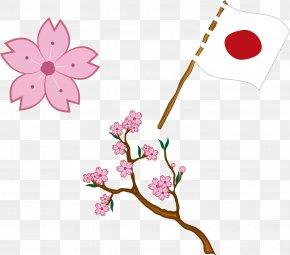 Japanese Flag Cherry Blossoms - Flag Of Japan Clip Art PNG